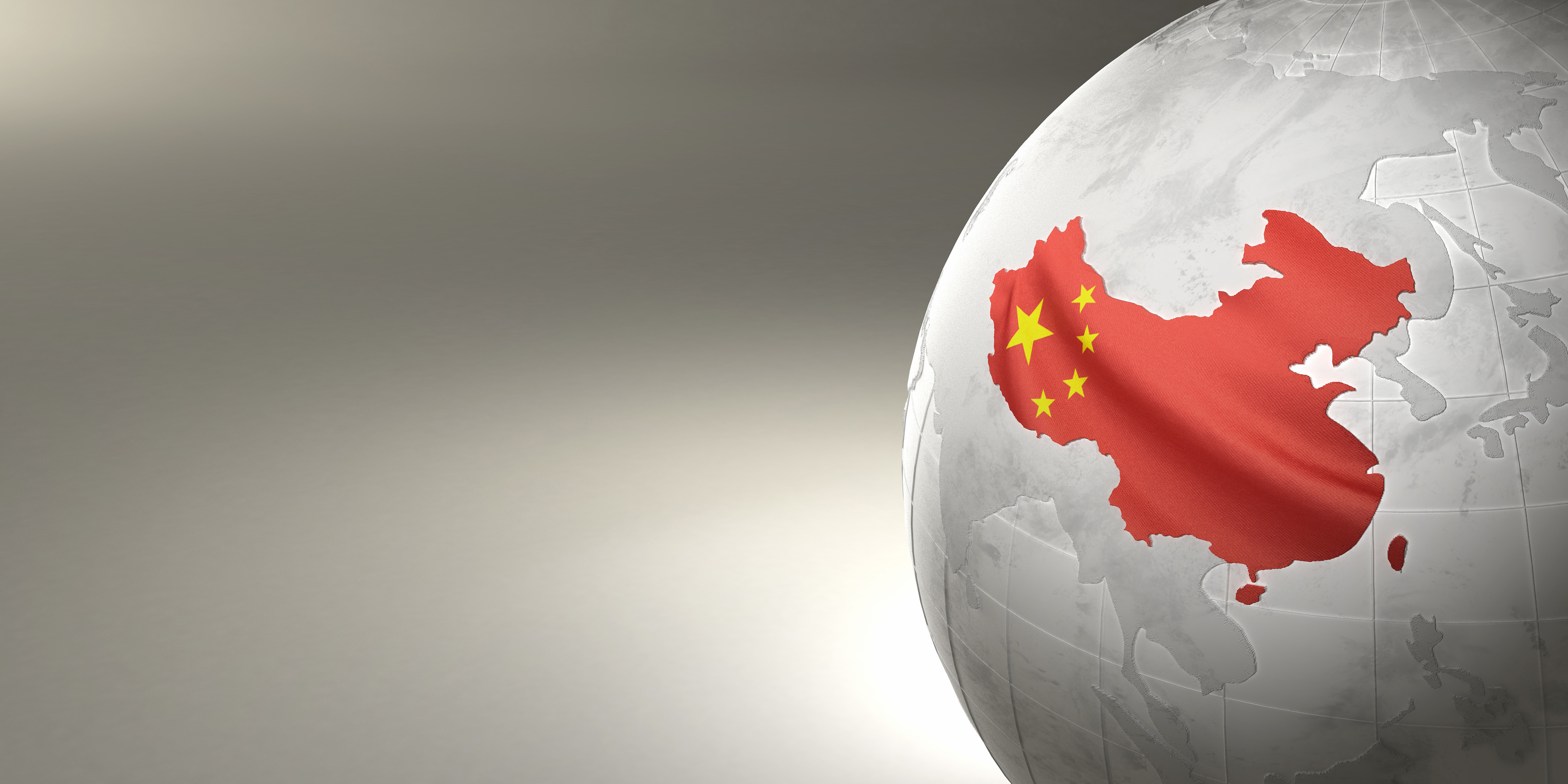 Map of the China on Earth in the national colors. 3D