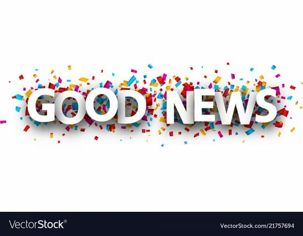 Good news banner with colorful paper confetti. Vector background.