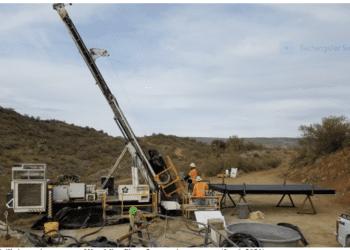 Drill rig turning at start of Kay Mine Phase 2 expansion program (Jan 6, 2021)