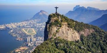 Aerial view of Christ the Redeemer and Rio de Janeiro city, Brazil