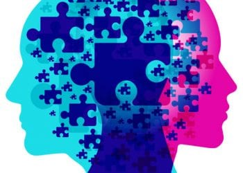 A male and female side silhouette positioned back to back, overlaid with various semi-transparent Jigsaw puzzle piece shapes. Each seperate Puzzle piece represents each individual thoughts.